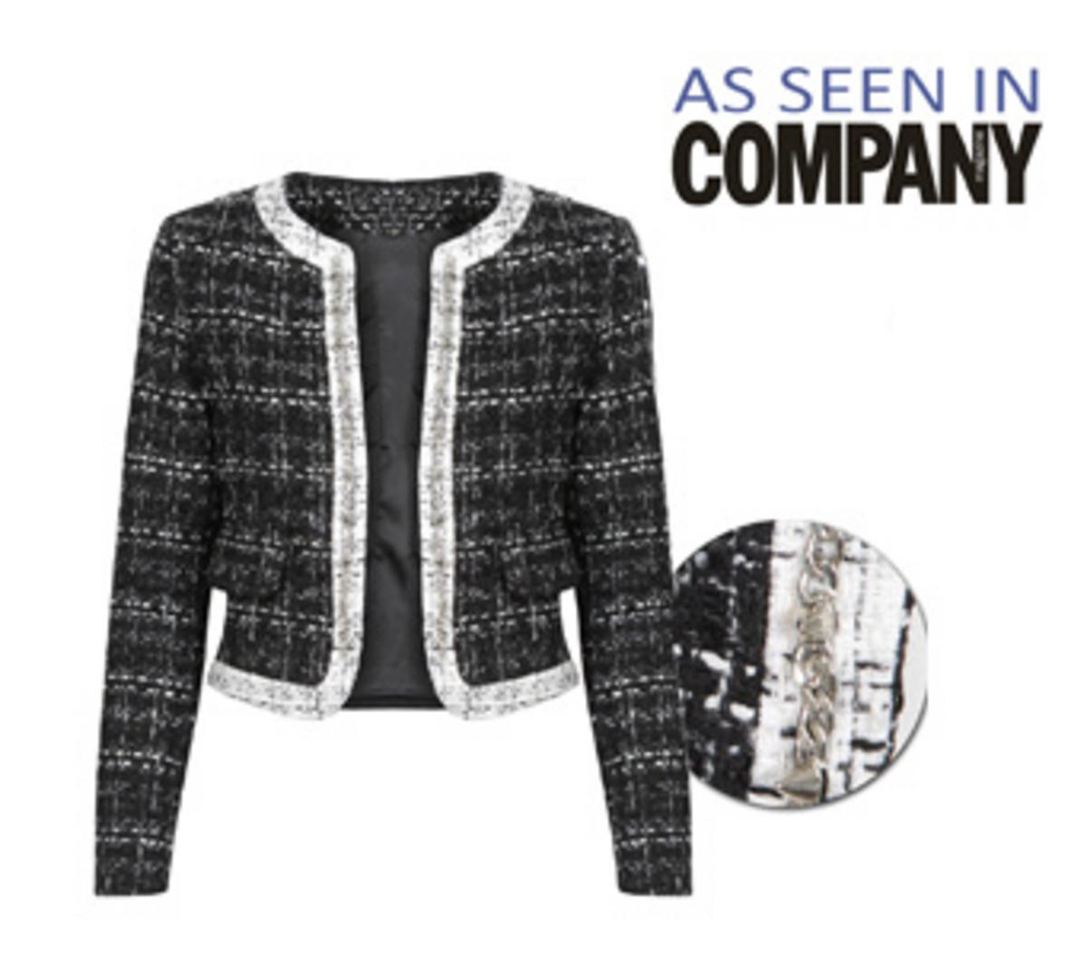 Black Tweed Jacket With Studded Contrast Trim Preview